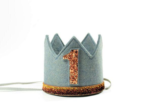 Jongen kroon grijze koperen vilt kroon MEDIUM door LittleBlueOlive
