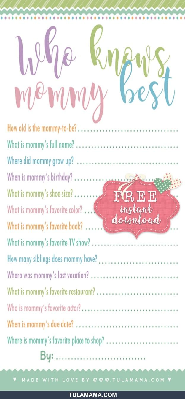 Games Printable Boy Girl Baby shower games Blank Game Cards Baby Shower Games INSTANT DOWNLOAD Who knows mummy best