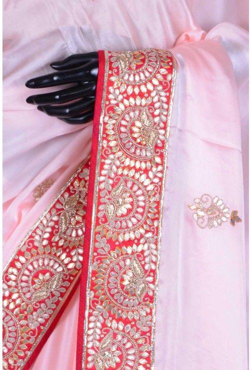 Pure Satin Embroidery-Baby Pink-Gota Work-WG203077