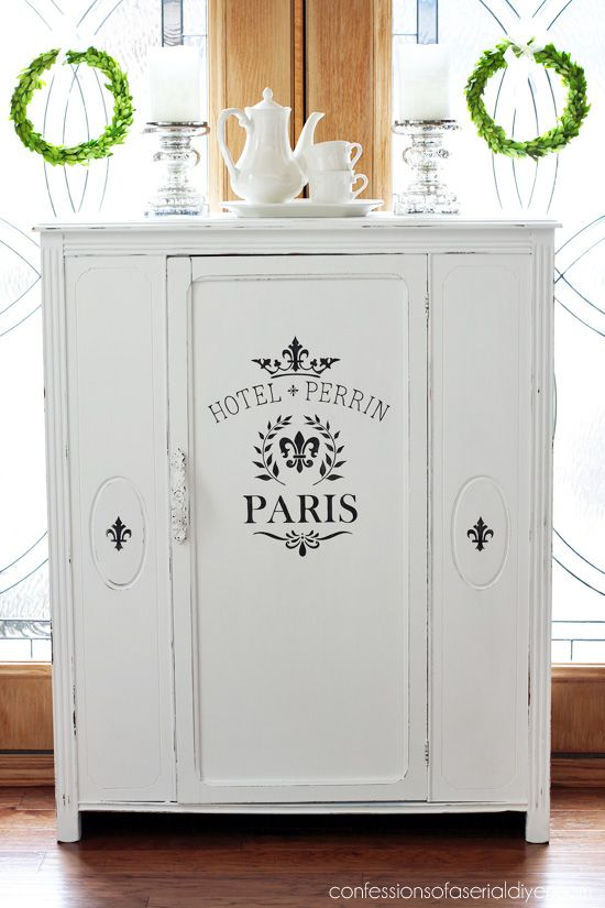 Antique Cabinet Makeover In Pure White Diy Chalk Paint