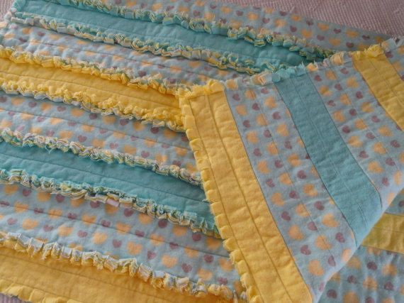 Hearts with Yellow and Aqua/Turquoise Flannel Strip by DreamsByDee …