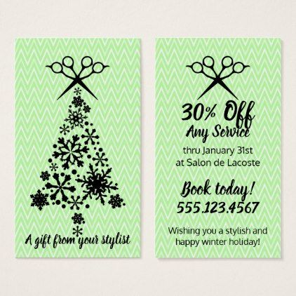 Hair salon stylist holiday coupon gift card xmas - stylist business cards cyo personalize businesscard diy