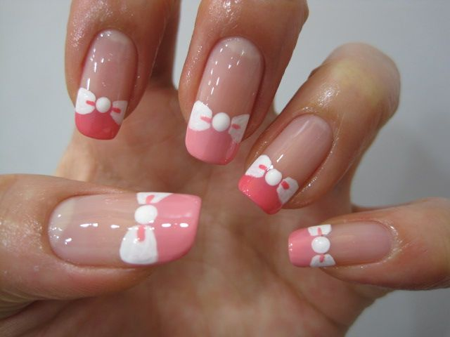Bow nail art: two color colour design: shades of pink, sheer pink/peach tips and white bow tie. French manicure alternative Thought of you Rebecca