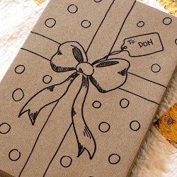 Paquet cadeau- nœud dessiné/ papier kraft