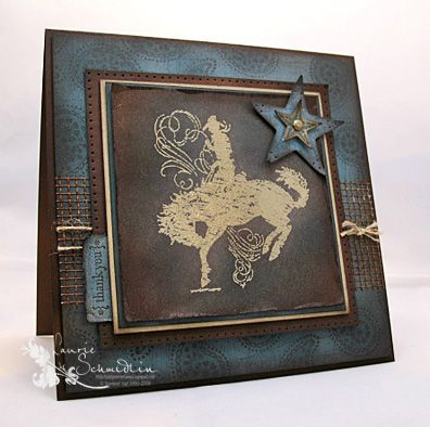 "Artist:  Laurie Schmidlin    I had so much fun making this card!!  I went ""Old School"" with this...no patterned paper...just good 'ole stamping!!!  I have to tell you though, I think my sponges are still smokin'!!  There is a LOT of sponging"