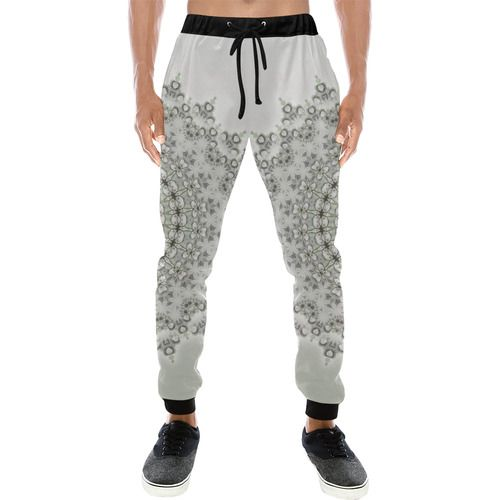 Kaleidoscope Fractal Mandala Grey Green Men's All Over Print Sweatpants (Model L11)