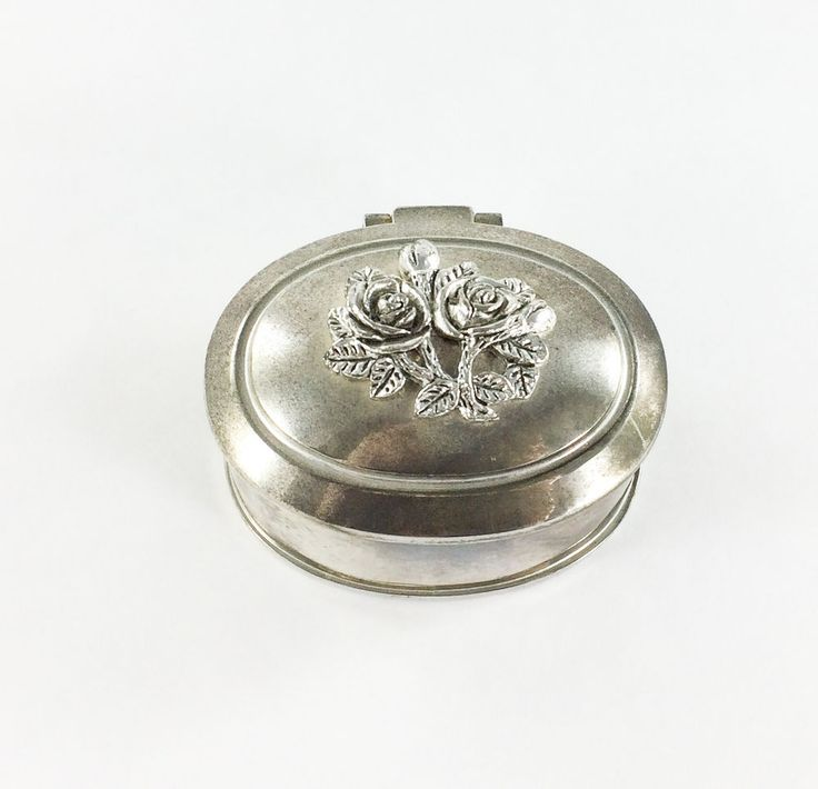 Vintage Silver plated Roses Hinged Cover Trinket Jewelry Box Lined Red Velvet #Unknown