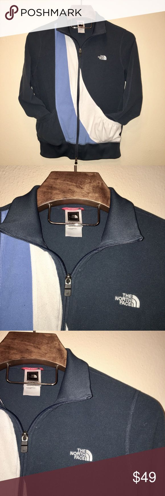 The North Face Women's Zip Up Fleece Jacket Fleece double zipper jacket by The North Face. Women's size XL. Navy blue with sky blue and white accents. Two front pockets. 100% Polyester. Super soft and warm. In excellent condition! The North Face Tops Sweatshirts & Hoodies