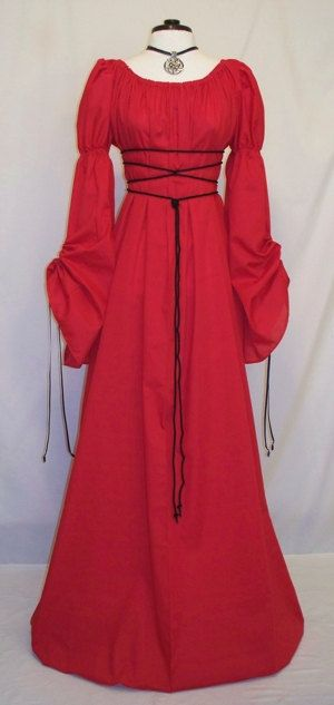 Gorgeous Medieval/Renaissance Red Cathedral Sleeve Costume Gown. $95.00, via Etsy.
