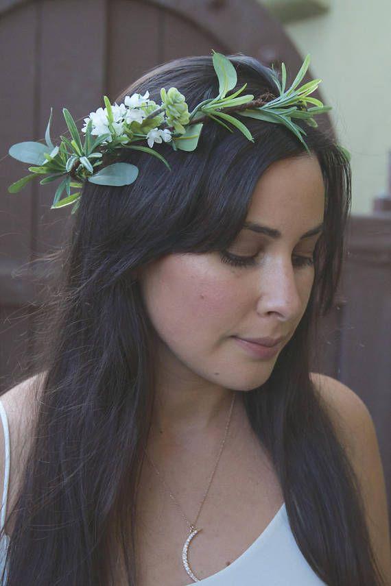 Groene bloem kroon. Bruids haaraccessoires. Groen Flower