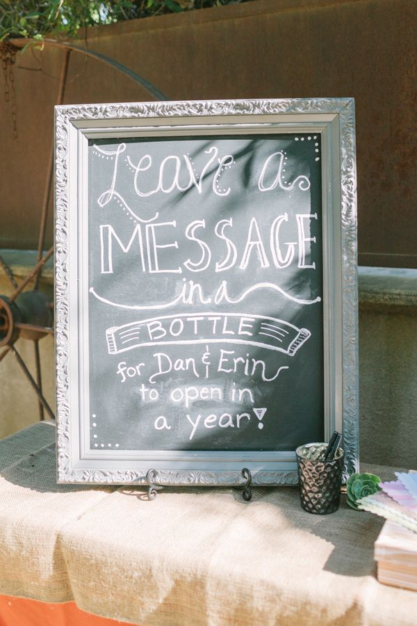Leave a message in the bottle for the bride and groom. Cute idea!