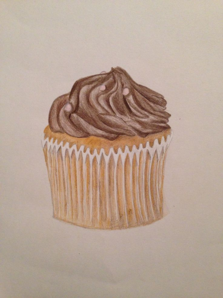 Cupcake - pencil crayon