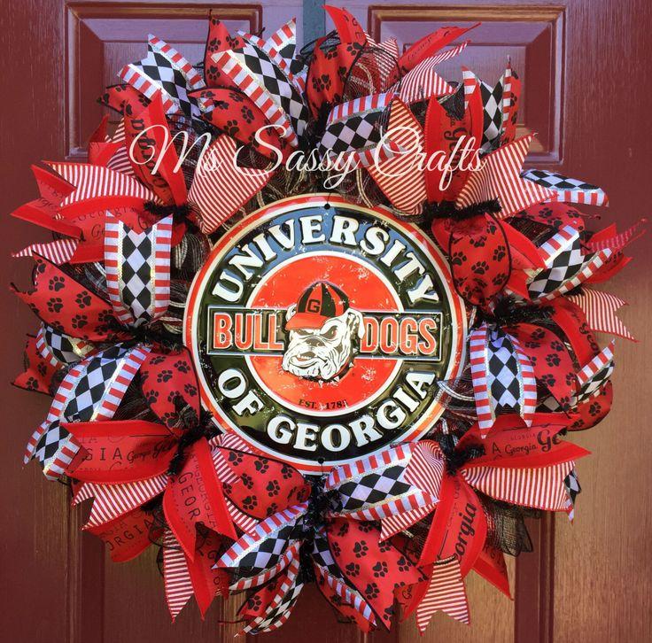 Georgia Bulldogs Wreath - UGA Deco Mesh Wreath - UGA Wreath - Bulldogs Wreath - Deco Mesh Wreath - Bulldogs Deco Mesh Wreath - Georgia by MsSassyCrafts on Etsy https://www.etsy.com/listing/244814505/georgia-bulldogs-wreath-uga-deco-mesh