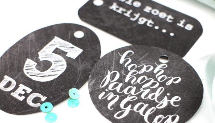 16 x GRATIS Sint-cadeaulabel: print en knip