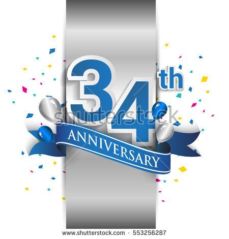 34th anniversary logo with silver label and blue ribbon, balloons, confetti. thirty four Years birthday Celebration Design for party, and invitation card