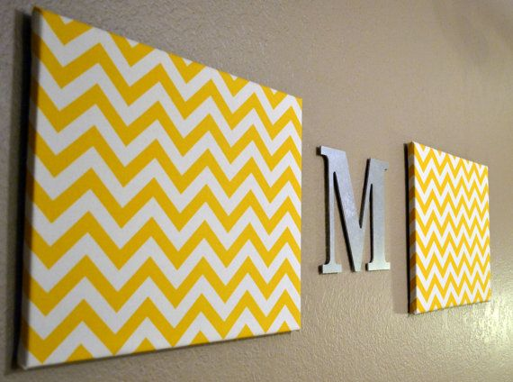 Chevron Monogram Canvas Wall Art Upholstered Chevron Nursery Office Home Decor Wall Hanging Gray Blue Red Yellow Green