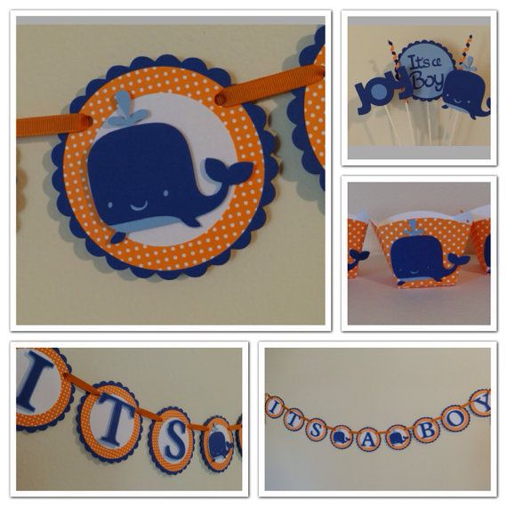 Orange and Blue Whale decorations, banner, centerpiece, favors