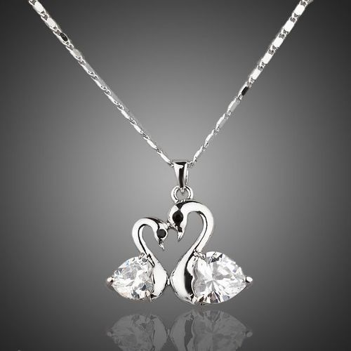 Platinum Plated Crystal Goose Necklace