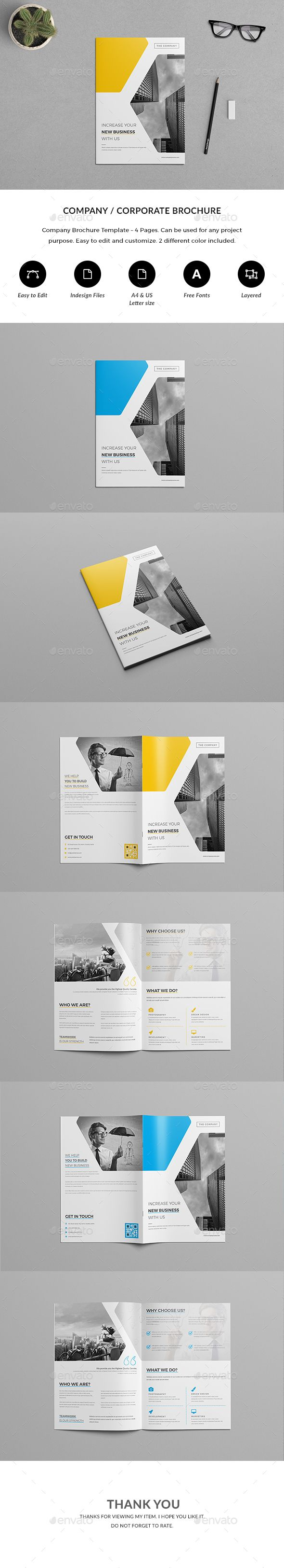 4 Page Brochure  — InDesign Template #inspiration #gray #icons • Download ➝ https://graphicriver.net/item/4-page-brochure/18602159?ref=pxcr