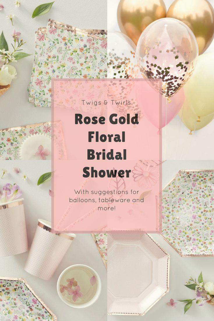 Rose Gold Floral Bridal Shower Decorations 1081