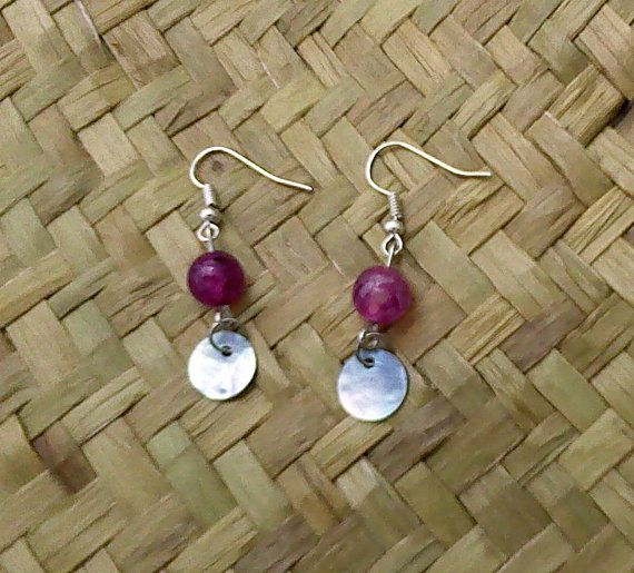 Iridescent Shell and Pink fuchsia Dragon's Vein Earrings by OceanicBeads
