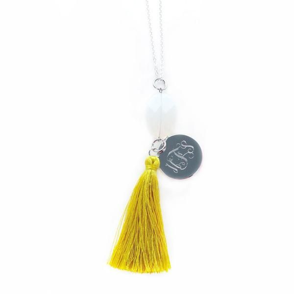Opaque and Yellow - Our Silver Jeweled Monogrammed Tassel Necklaces are hobo chic and beautifully designed! So pretty for fall! www.beaujax.com