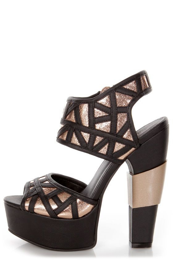 Michael Antonio Studio Tayson Black and Gold Platform Heels - $129.00