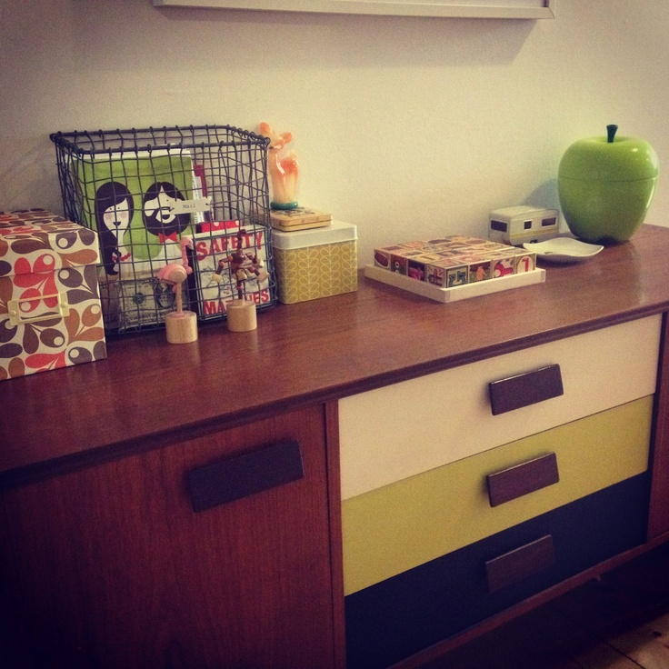 Vintage teak sideboard with painted drawers - I fancied a little bit of colour to brighten it up!