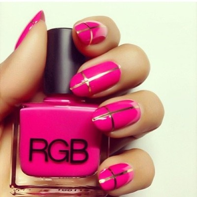 Hot pink and gold cross nails {RGB Cosmetics Pink}