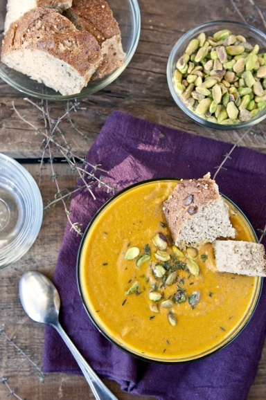 // roasted carrot soup with pistachios |