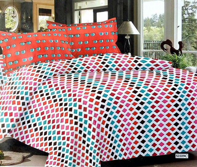 Multi colour triangles 100% Cotton bedsheet