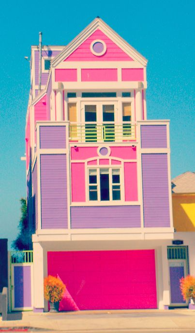House of Ruth Handler, the founder of Barbie, in Santa Monica, California. It was her real life dream house until her death in 2002. The facade of the  beach house is painted in bubble gum pink & purple.