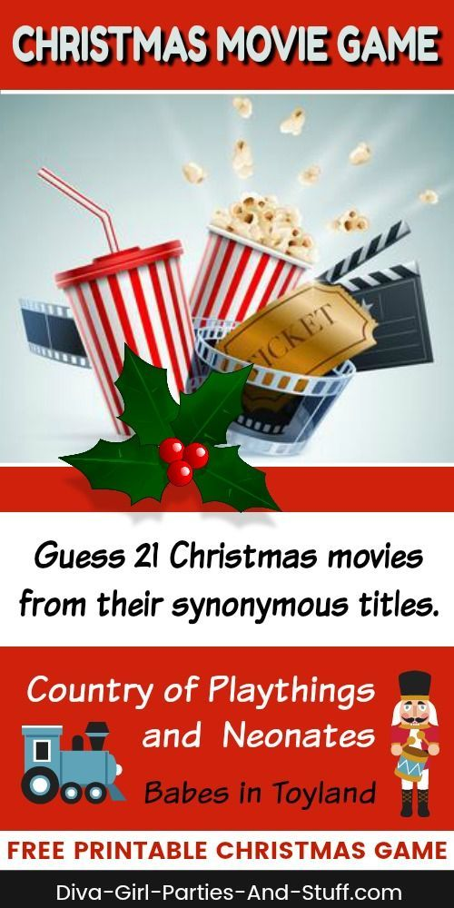 Fun Christmas Party Game. Guess these 21 Christmas movie names from their synonymous titles. Free printable version at Diva Girl Parties and Stuff. #christmas #movies #party #games