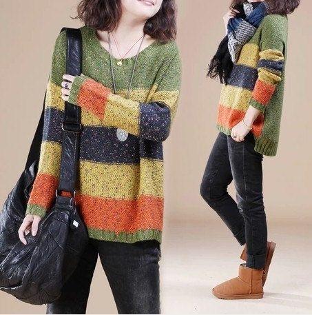 Green Cotton sweater Loose sweater long sleeve sweater cape coat sweater winter autumn spring C185