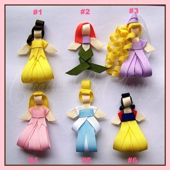 Disney princess hairbows. No tutorial, but it's a genius idea to try and figure out!