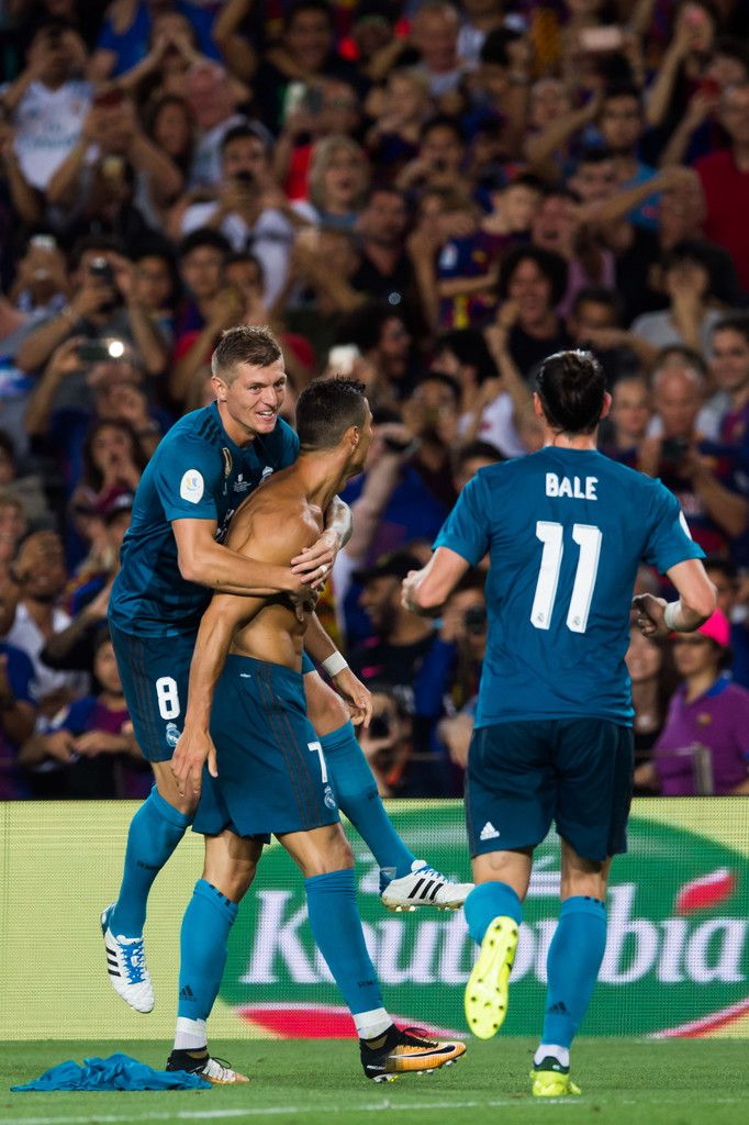 Cristiano Ronaldo Photos Photos - Cristiano Ronaldo of Real Madrid CF celebrates after scoring his team's second goal during the Supercopa de Espana Supercopa Final 1st Leg match between FC Barcelona and Real Madrid at Camp Nou on August 13, 2017 in Barcelona, Spain. - FC Barcelona v Real Madrid - Supercopa de Espana: 1st Leg