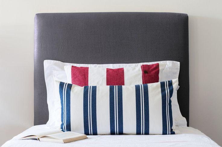 Charcoal Linen Bedhead - Single, King Single, Double