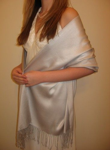 Divine silver evening shawl $32.00 silk pashmina sale http://www.yourselegantly.com/bridal-bridesmaids-shawls/bridesmaids-shawls/divine-silver-pashmina-top-of-the-line-series.html