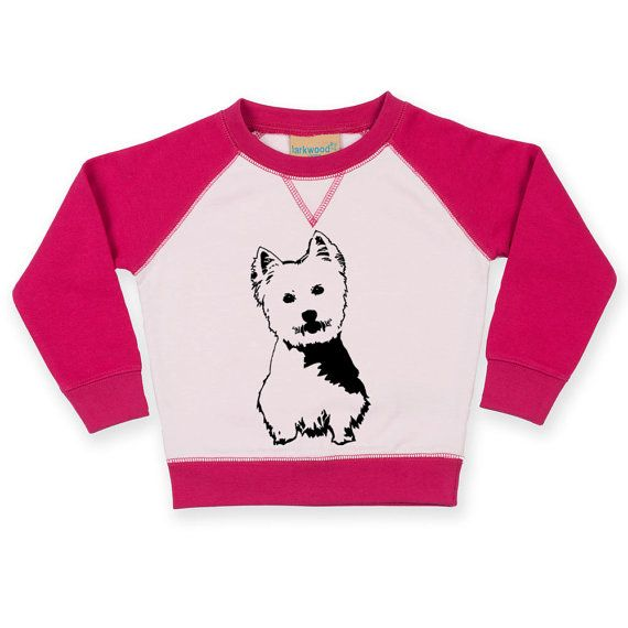 Snuggle your little one with this cozy contrast raglan sweatshirt so they wear a sweatshirt with their favourite West Highland Terrier.  LISTING INCLUDES: Larkwood unisex baby and toddler contrast raglan sweatshirt with West Highland Terrier print/ West Highland Terrier Baby Sweatshirt Westie Toddler Jumper