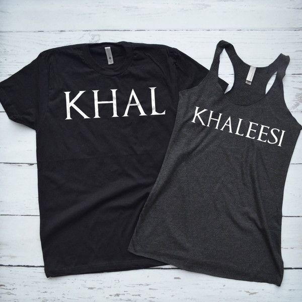 Game of Thrones Couple Shirts Khal and Khaleesi ($40) ❤ liked on Polyvore featuring tops, grey, tanks, women's clothing, low v neck shirt, button shirt, tribal print tops, gray top and grey top
