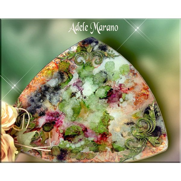 Collectible glass plate/handpainted/alcohol ink colours/art (€32) found on Polyvore