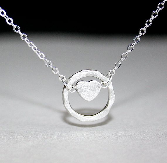 Heart Necklace with Hammered Circle in silver by smilesophie, $17.00