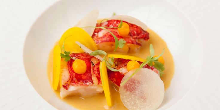 This striking lobster recipe by Colin McGurran pairs the meaty shellfish with fragrant laksa broth, pickled beetroot and a tangy orange juice gel for a delicious starter dish.