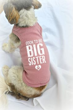 Pregnancy Reveal Idea. Dog Tank Tops. Big Sister Dog Shirt. Small Pet Clothes. Gift for Expecting Mother. Soon to be Big Sister