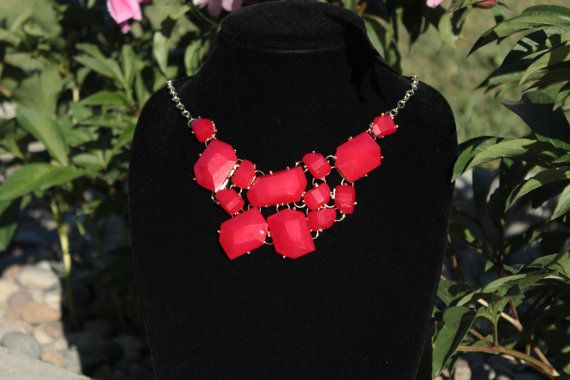 Red statement necklaces Red Bubble necklace jewelry by HotDecor, $12.99