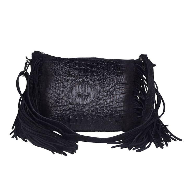 Jackie Leather Shoulder Bag   Black Croc by Marla Fiji on Brands Exclusive