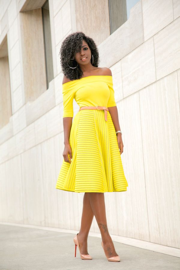 Off Shoulder Blouse + Yellow Striped Skirt