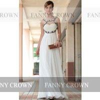 Splendid Halter Long White Prom Dresses | Fanny Crown