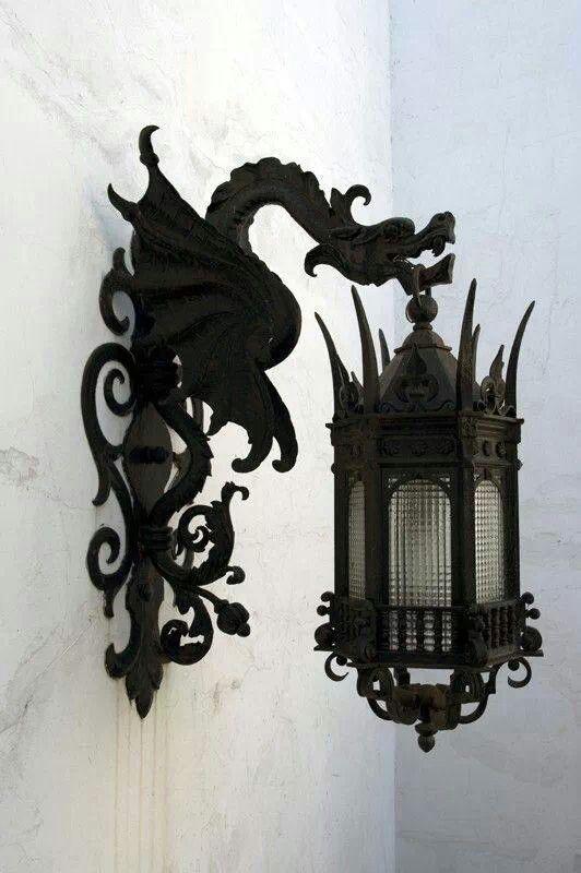 Gothic wall bracket with lantern...love it!