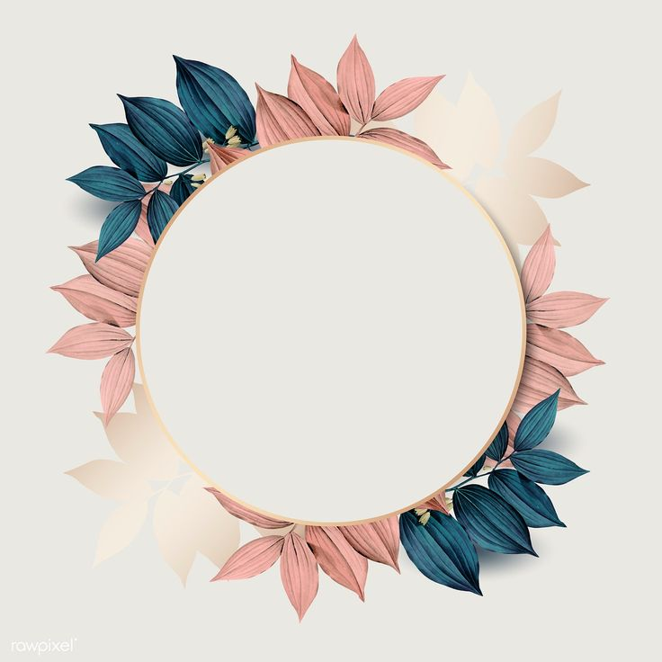 Download premium vector of Round gold frame on pink and blue leaf pattern